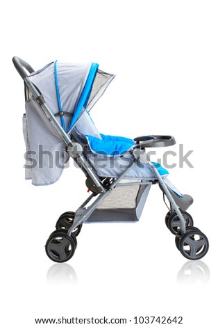 Smooth pram stroller carriage for young baby isolated on white - stock photo