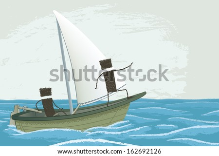 Smooth sailing, under sail!. Two people navigate a sailboat. One handles the helm of the ship, the other pointing the way forward. - stock photo