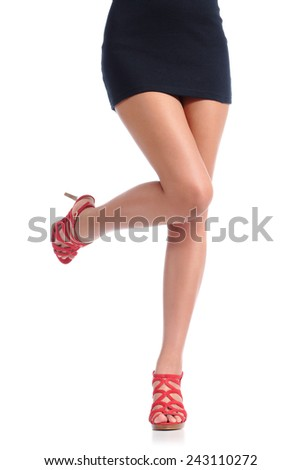 Smooth woman legs with high heels hair removal concept isolated on a white background - stock photo