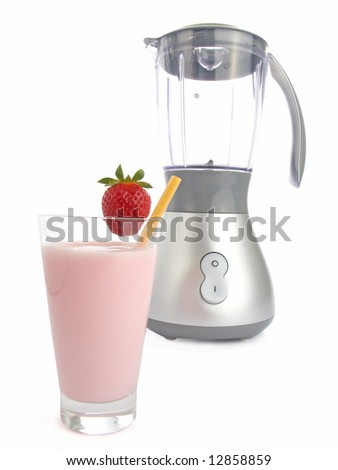 Smoothie made with strawberries isolated on white background