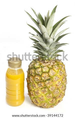 Smoothie with fresh pineapple over white background - stock photo