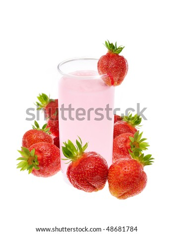 smoothie with strawberry on white background - stock photo