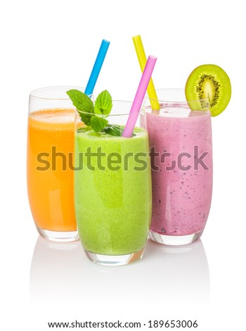 Smoothies from fruit and vegetables - stock photo