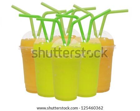 Smoothies isolated on white background - stock photo