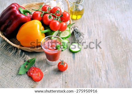 smoothies made with fresh vegetables, tomatoes and peppers - stock photo