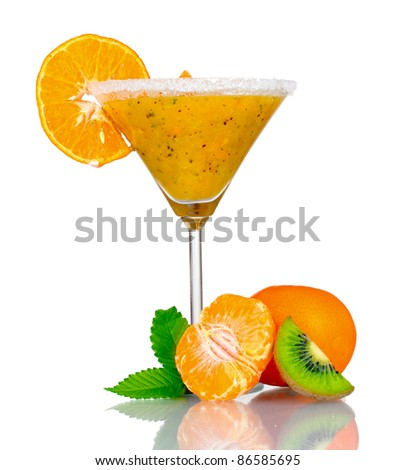 Smoothies of orange in glass isolated on white - stock photo