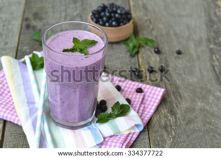 Smoothies with blueberries - a refreshing vitamin drink. - stock photo