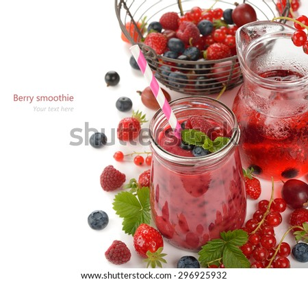 Smoothies with fresh berries on a white background - stock photo
