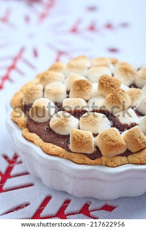 Smore cake with marshmallow, brownie and graham cracker - stock photo