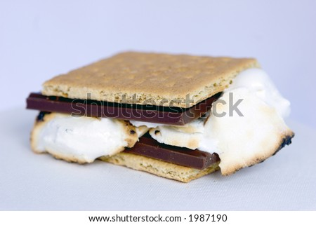 Smore (Graham cracker, chocolate, roasted marshmallows). - stock photo