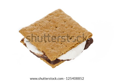 Smores with graham wafer crackers, melted marshmallows and chocolate - stock photo