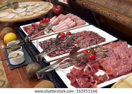 Smorgasbord - food choice in a restaurant. meat menu - stock photo