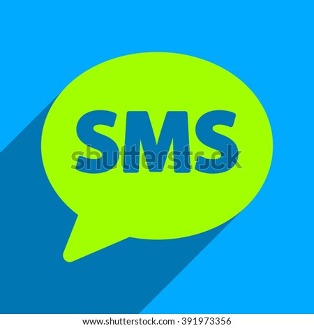 SMS Bubble long shadow glyph icon. Style is a flat sms bubble iconic symbol on a blue square background. - stock photo