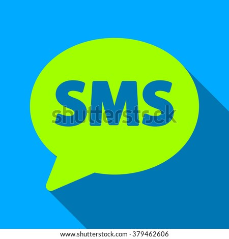 SMS Bubble long shadow raster icon. Style is a flat light symbol with rounded angles on a blue square background. - stock photo