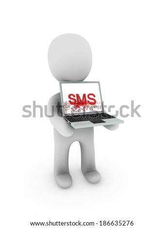 sms on screen laptop - stock photo