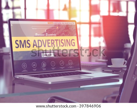 SMS - Short Messaging Service - Advertising Concept - Closeup on Laptop Screen in Modern Office Workplace. Toned Image with Selective Focus. 3D Render. - stock photo