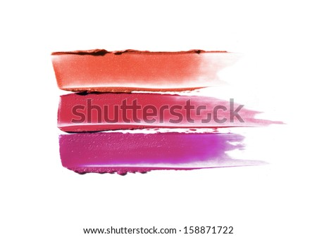 Smudged lipstick isolated on white  - stock photo