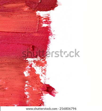Smudged lipstick isolated on white background - stock photo