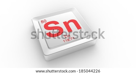 Sn symbol 50 material for Tin chemical element of the periodic table - stock photo