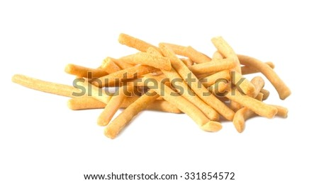 Snack and Dessert, Delicious Salted Crispy Breadsticks, Grissini or Dipping Sticks Isolated on A White Background. - stock photo