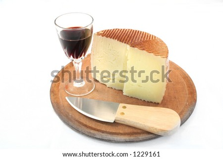 snack and red wine - stock photo