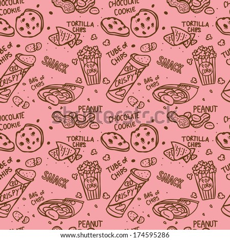snack doodle seamless pattern - stock photo