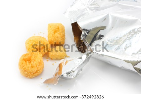 snack in bag on white background  - stock photo