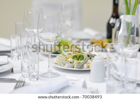 Snack table at an event party or wedding reception - stock photo