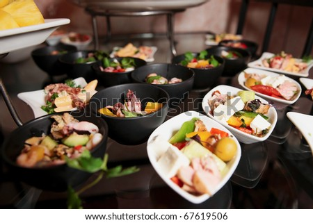 Snacks on banquet table - picture taken during catering event - stock photo