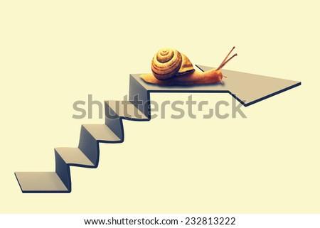 Snail on Staircase - stock photo