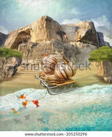 Snails on vacation. Illustration - stock photo