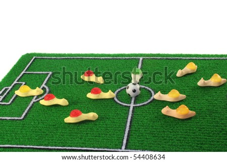 Snails play football on a white background