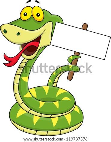 Snake cartoon holding blank sign - stock photo
