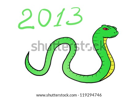 Snake. Happy new year 2013. hand-drawn