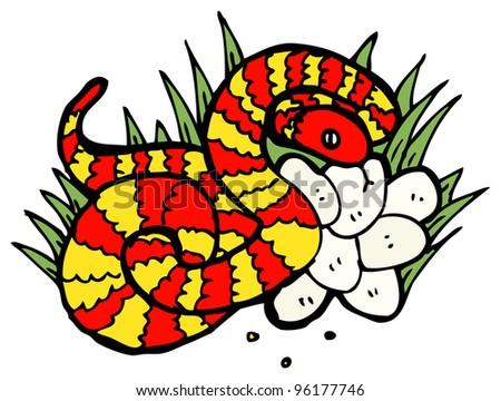 snake in nest of eggs cartoon - stock photo