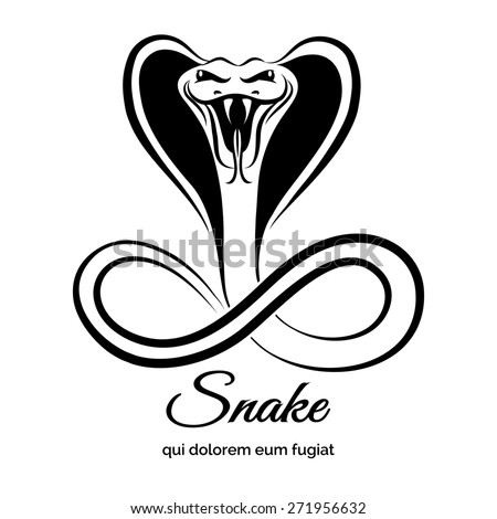Snake logo. Animal graphic, danger viper or reptile or cobra - stock photo