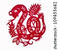Snake,paper cutting Chinese Zodiac - stock photo