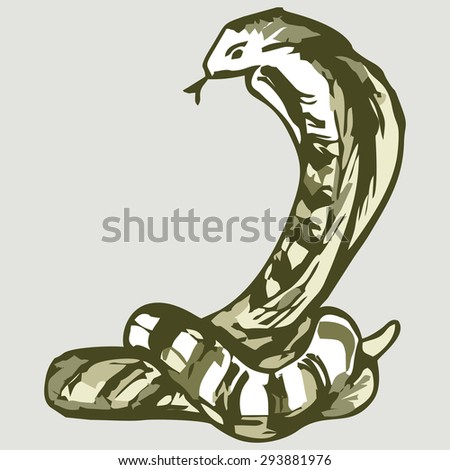 Snake sketch. Shades of green and yellow. Raster version - stock photo