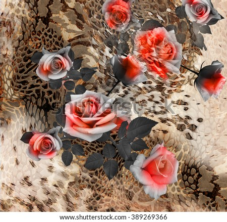 snake skin and  flowers  background - stock photo