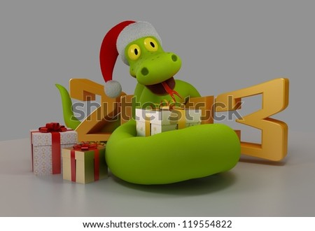 Snake with the New 2013 Year - stock photo