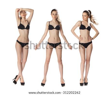 Snap Models. Full length portrait of a beautiful brunette women in black bikini isolated on white background - stock photo