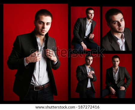 Snapshot of model. Handsome man on red background - stock photo