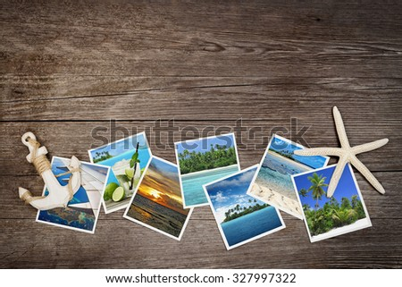snapshots of tropical islands on wooden background