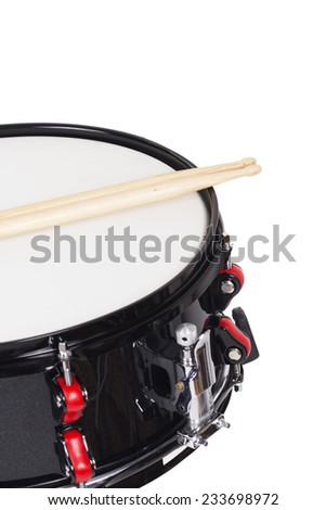 Snare drum and drumsticks isolated on a white - stock photo