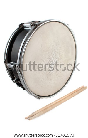 Snare drum and drumsticks on a white background - stock photo