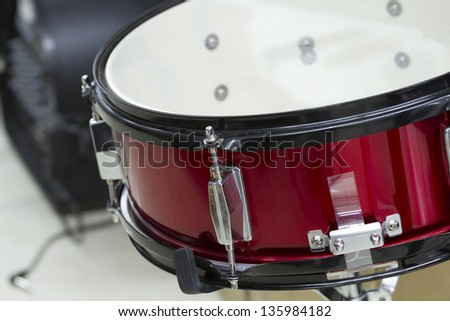 Snare drum closeup. - stock photo