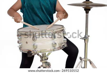 Snare Drum Isolate with White Background - stock photo