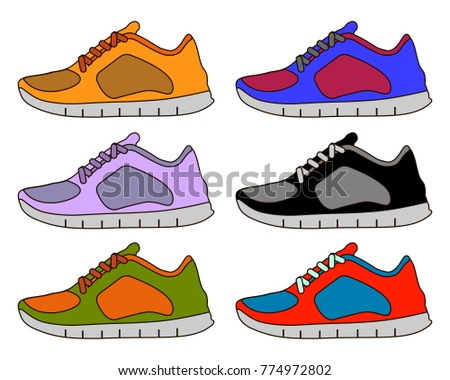 Sneaker Sport Shoe Color Flat Icon Symbol Set Collection. Flat design  Illustration