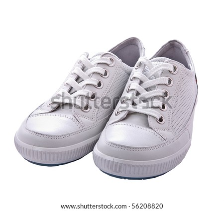 Sneakers isolated on white - stock photo