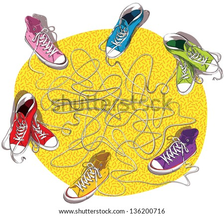 Sneakers Maze Game for children. Hand drawn illustration. Task: Connect shoes with the same shoelace! Answer: pink and red; blue and purple; green and orange. (for vector see image 102340099) - stock photo
